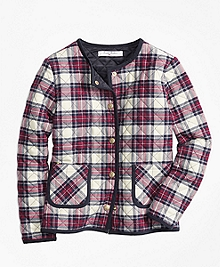 Quilted Twill Plaid Coat