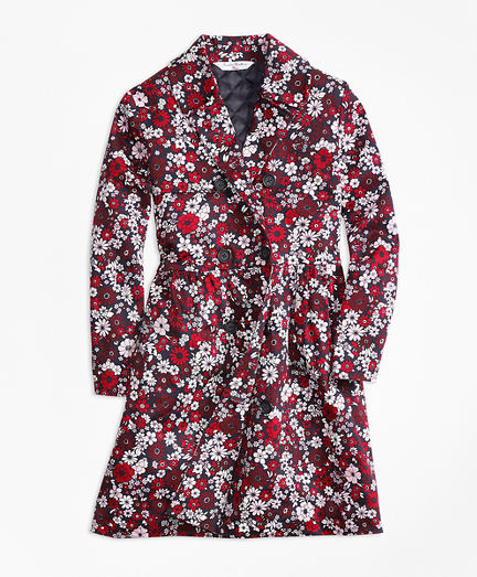 Cotton Sateen Floral Trench