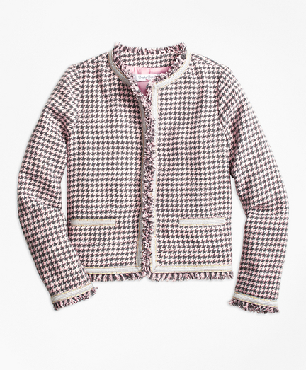 Cotton Blend Houndstooth Tweed Jacket