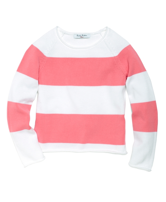 Wide Stripe Roll Neck Sweater Pink-White