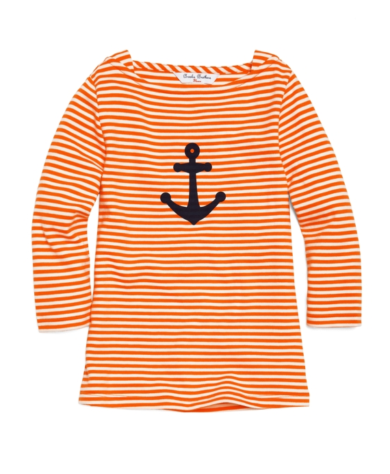 Three-Quarter Sleeve Anchor Tee Orange-White