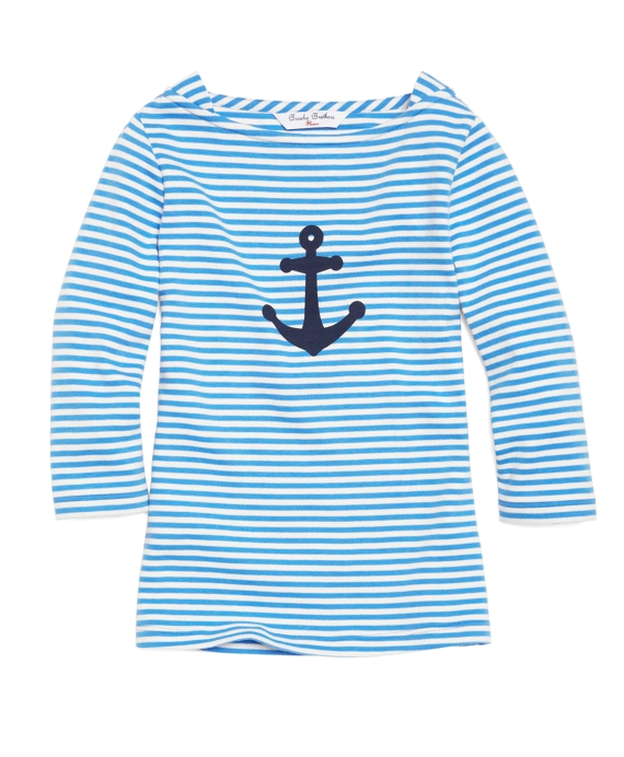 Three-Quarter Sleeve Anchor Tee Blue-White