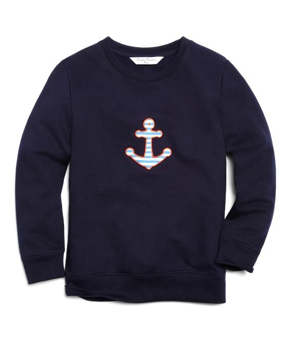 Long-Sleeve Crewneck Anchor Fleece Navy