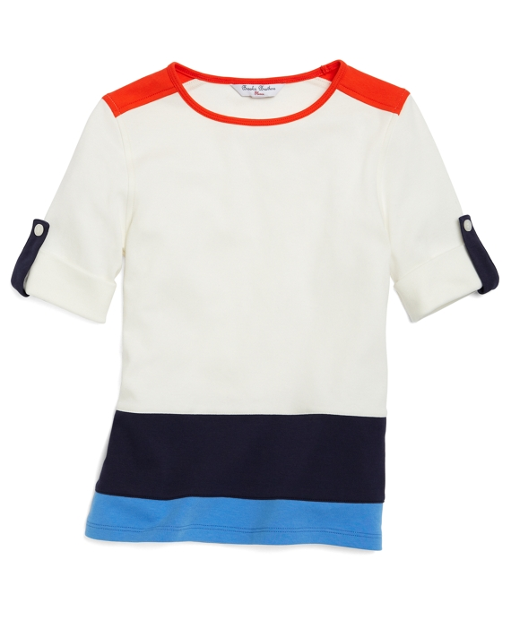 Short-Sleeve Color-Block Tee Ivory-Blue