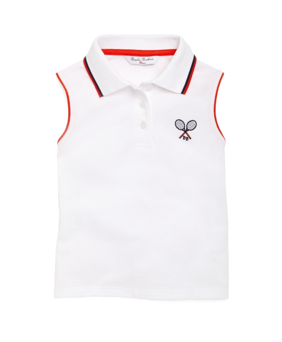 Sleeveless Pique Tennis Polo White