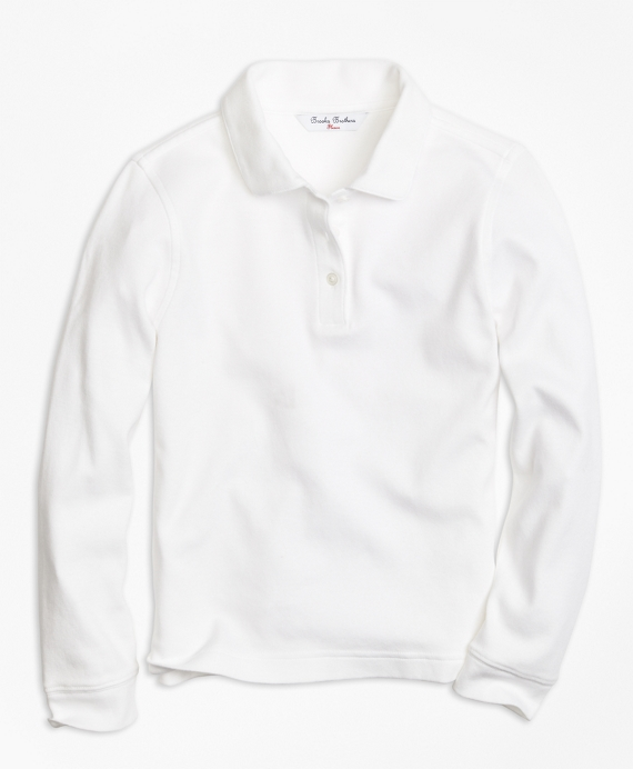 Long-Sleeve Polo Shirt White