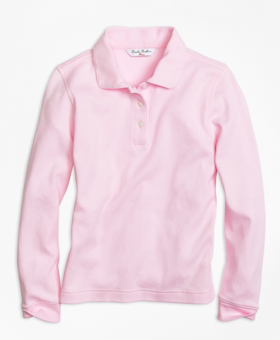 Long-Sleeve Polo Light Pink