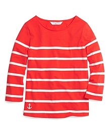 Three-Quarter Sleeve Stripe Tee
