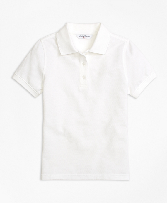Short-Sleeve Pique Polo Shirt White