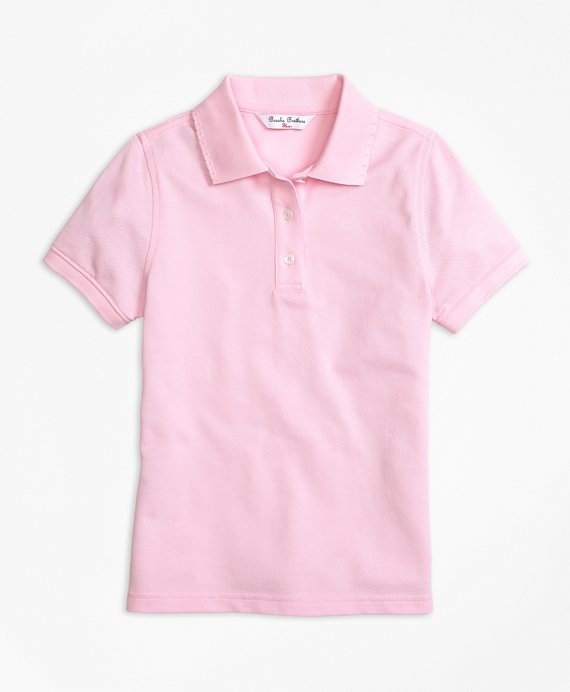 Short-Sleeve Pique Polo Shirt Light Pink
