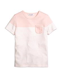 Cotton Stripe Short-Sleeve Pocket Tee