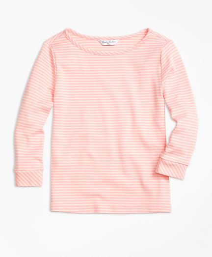 Cotton Three-Quarter Stripe T-Shirt