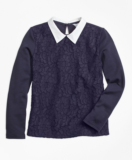 Poplin Collared Lace Top