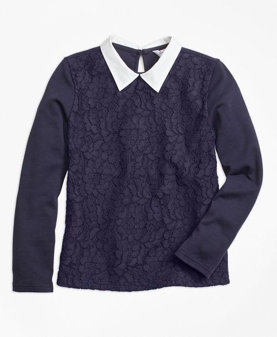 Poplin Collared Lace Top Navy
