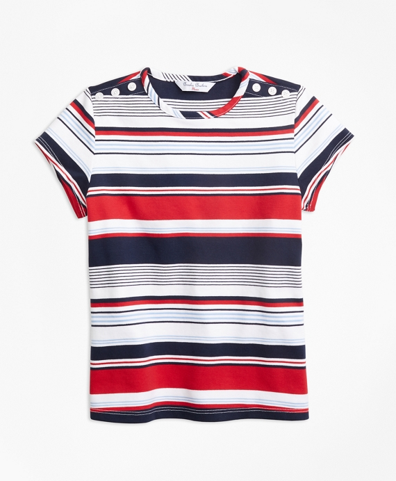 Short-Sleeve Cotton Multi-Stripe T-Shirt