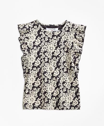 Floral Jacquard Flutter-Sleeve Top