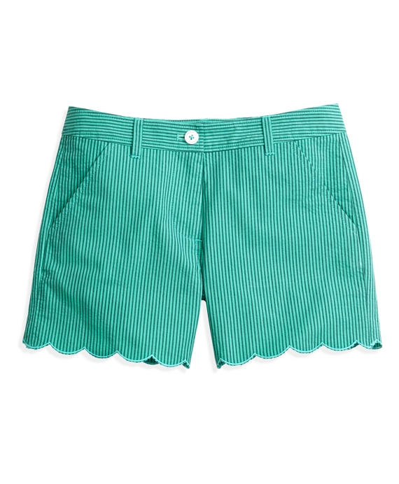 Scalloped Seersucker Shorts Turquoise