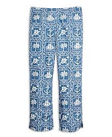 Nautical Print Capri Pants