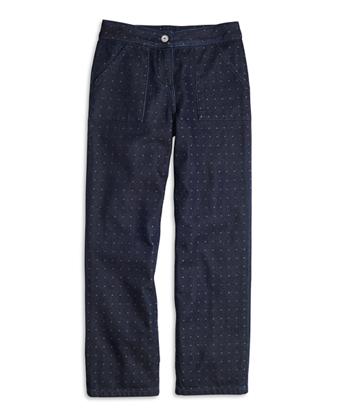 Wide Leg Cotton Dobby Pants