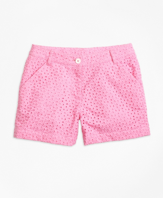 Cotton Eyelet Shorts Pink