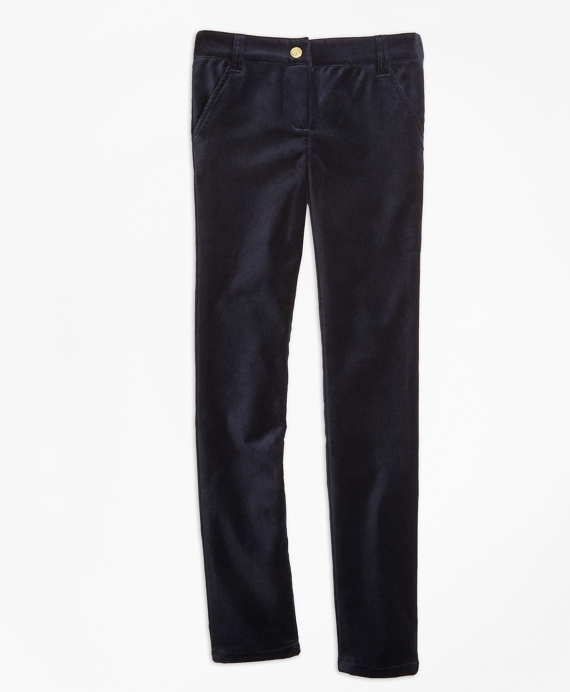Stretch Velvet Cotton Five-Pocket Pants Navy