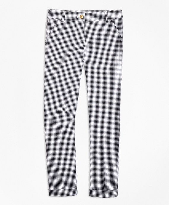 Cotton Stretch Gingham Pants Black