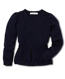 Long-sleeve crewneck with a girly twist. Knitted from our soft merino wool to keep her warm. Shirring details at shoulder. Rib detail at peplum waist. Dry clean. Imported.