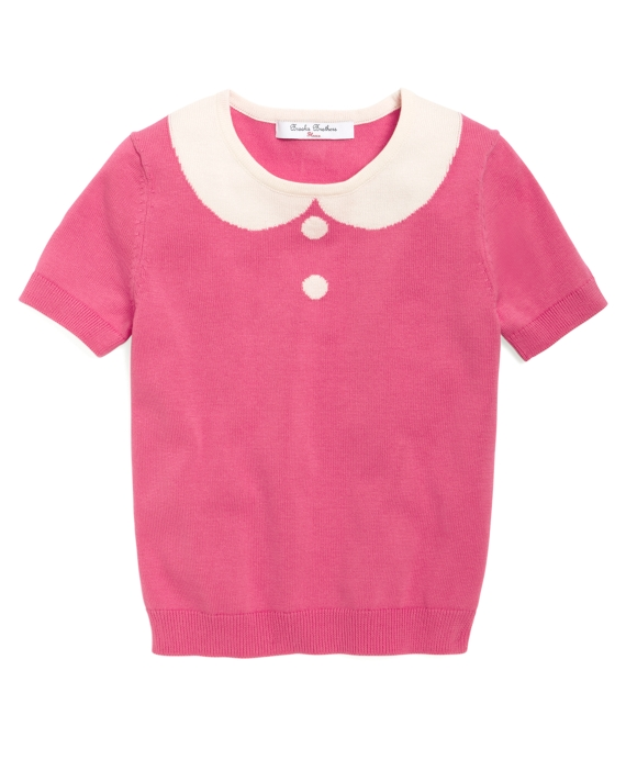 Intarsia Collar Supima® Sweater Bright Pink