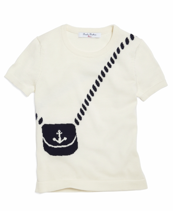 Short-Sleeve Intarsia Supima® Cotton Sweater Off White