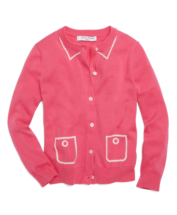 Long-Sleeve Intarsia Supima® Cotton Cardigan Pink-Rose