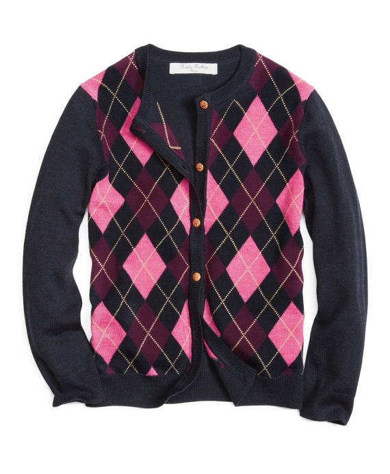 Long-Sleeve Argyle Cardigan Navy-Wine-Pink