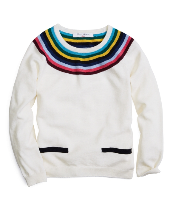 Long-Sleeve Striped Ringer Crewneck Sweater Ivory