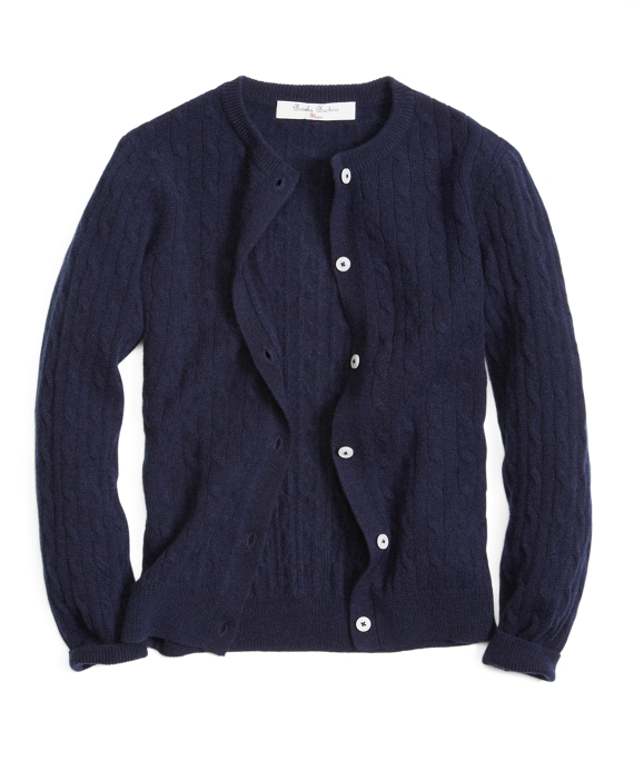 Long-Sleeve Cable Knit Cardigan Navy