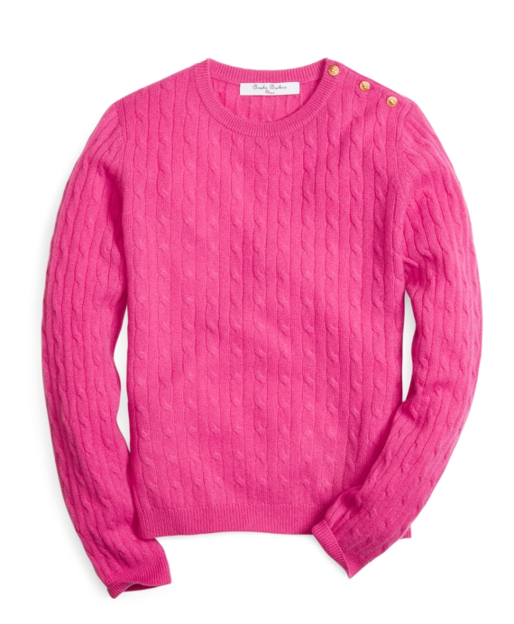 Long-Sleeve Cashmere Cable Knit Crewneck Sweater Bright Pink