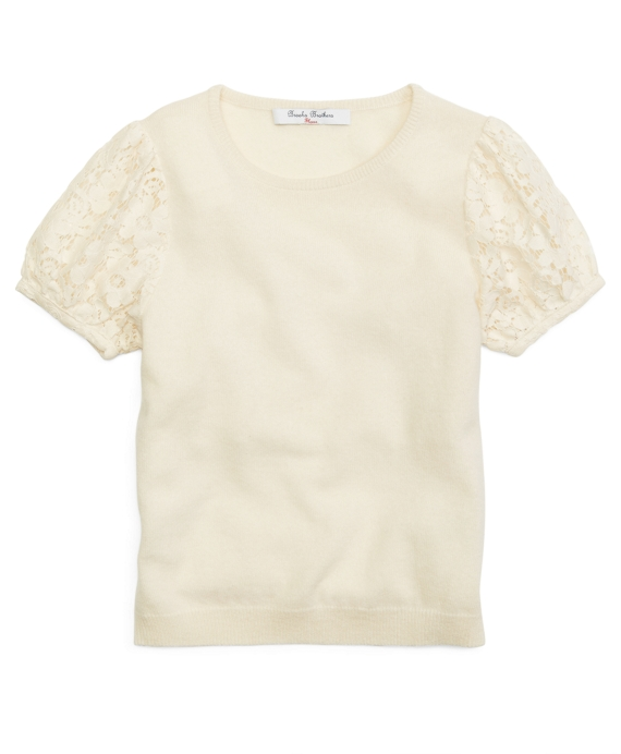 Short-Sleeve Cashmere Sweater Ivory