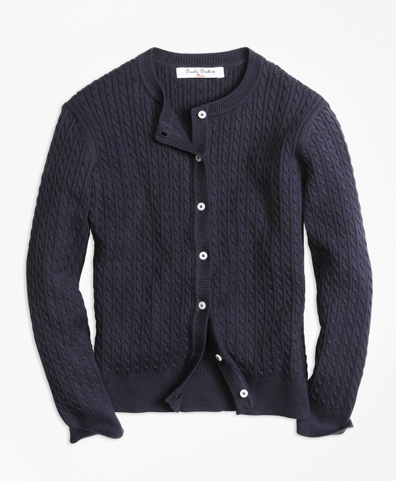 Long-Sleeve Mini Cable Cardigan Navy