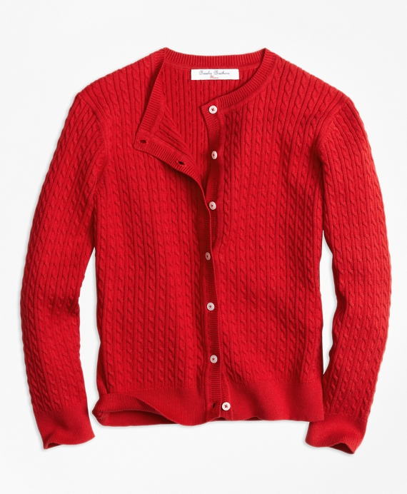 Long-Sleeve Mini Cable Cardigan Red