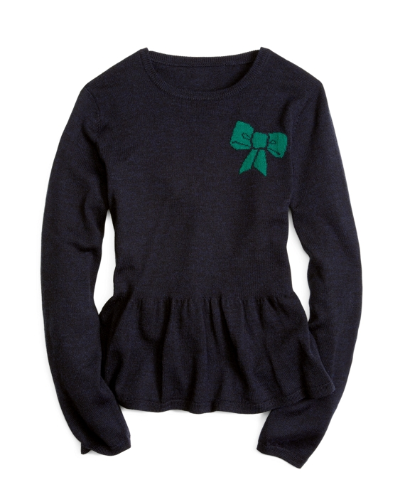 Long-Sleeve Bow Peplum Sweater Navy