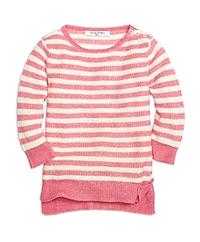 Cotton and Linen Stripe Boatneck Sweater