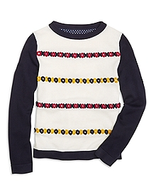 Cotton XO Embroidered Boatneck Sweater