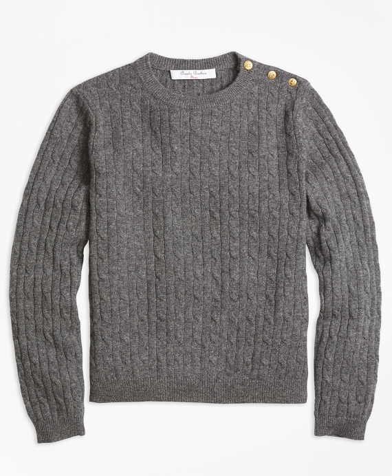 Cashmere Cable Crewneck Sweater Grey