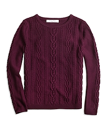 Merino Wool Cable Crewneck Sweater