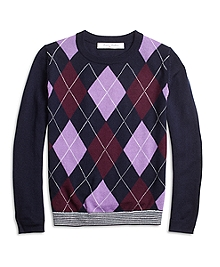 Merino Wool Blend Argyle Sweater