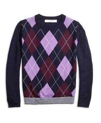 Merino Wool Blend Argyle Sweater