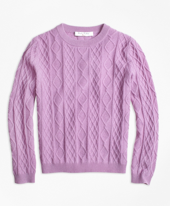 Cashmere Diamond Cable Crewneck Sweater