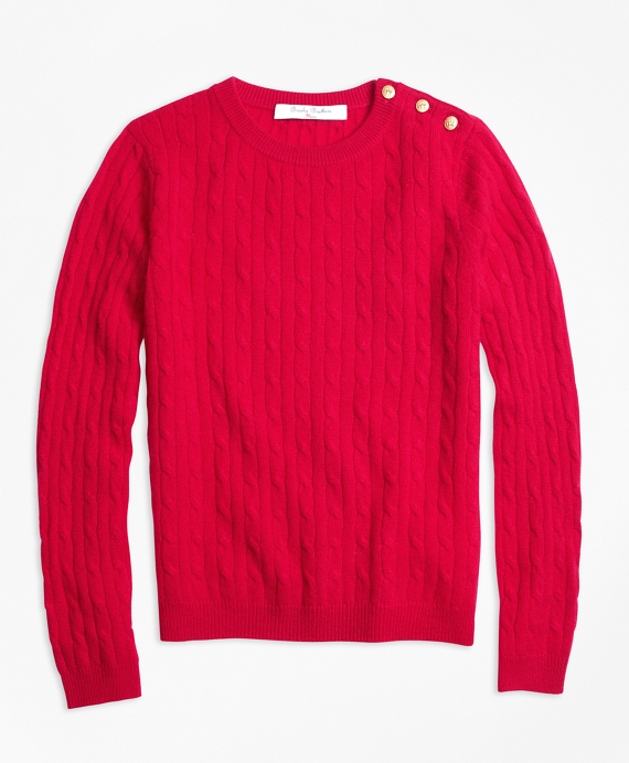 Cashmere Cable Crewneck Sweater Red