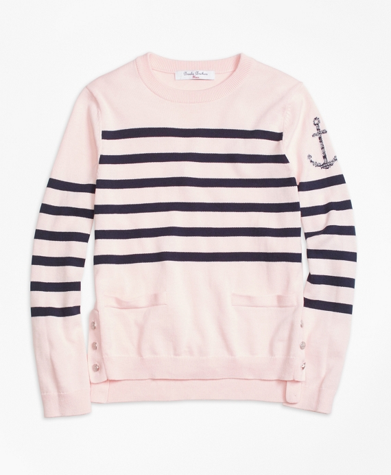 Supima® Cotton Stripe Sweater Pink