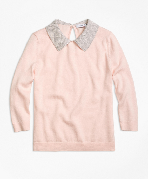 Supima® Cotton Collared Sweater Pink