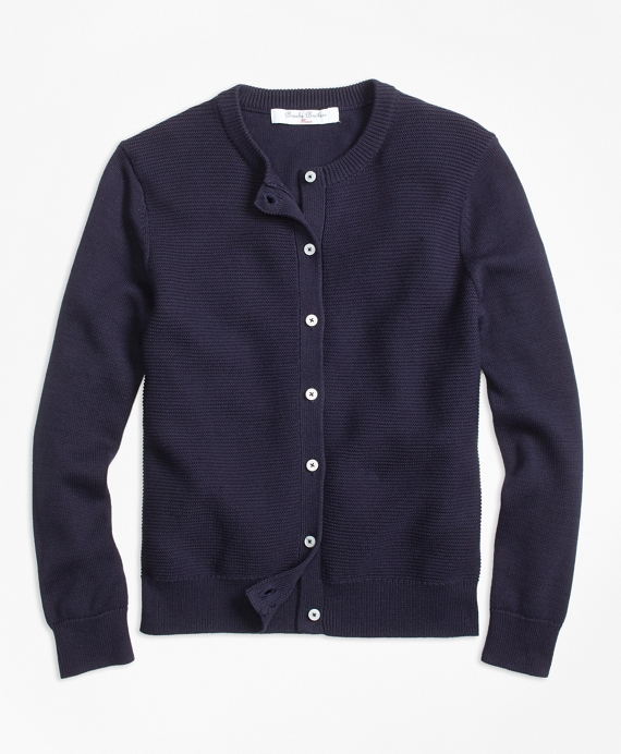 Cotton Ribbed Cardigan Navy