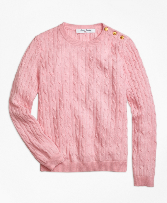 Cashmere Cable Crewneck Sweater Pink
